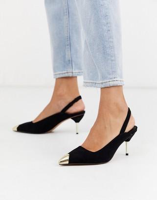 Asos Design DESIGN Sascha slingback kitten heels in black