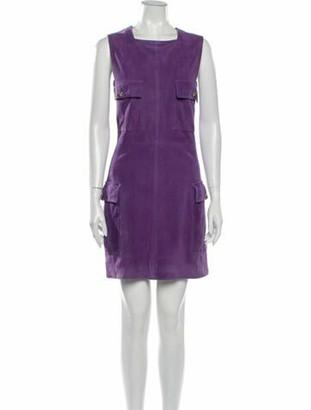 Versace Leather Mini Dress Purple