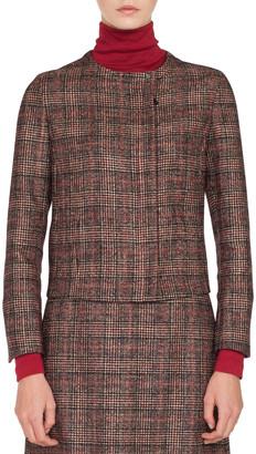 Akris Stan Zip-Front Round-Neck Wool-Silk Plaid Jacket
