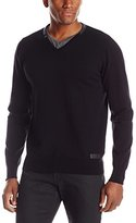 ProjekRaw Projek Raw Men's Sweater with Faux Leather Trim