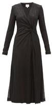 Galvan Knotted Plisse Metallic-jersey Midi Dress - Womens - Black