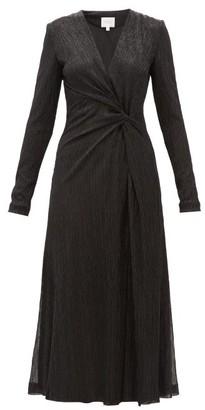 Galvan Knotted Plisse Metallic-jersey Midi Dress - Black