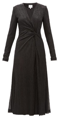 Galvan Knotted Plisse Metallic-jersey Midi Dress - Womens - Black