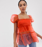 Asos Design DESIGN short sleeve tiered organza top with ruffle detail
