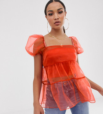 Asos Design DESIGN short sleeve tiered organza top with ruffle detail-Purple