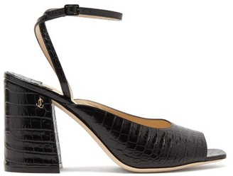 Jimmy Choo Jassidy Peep-toe Crocodile-effect Leather Sandals - Black