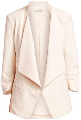 Halston Slim-Fit Ruched-Sleeve Crepe Blazer