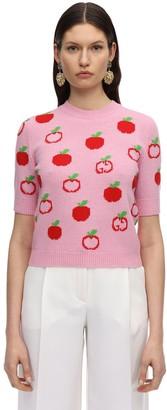Gucci Gg & Apple Wool Intarsia Knit Top