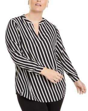 Anne Klein Plus Size Striped Blouse