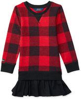 Ralph Lauren Plaid Ruffled-Hem Fleece Dress