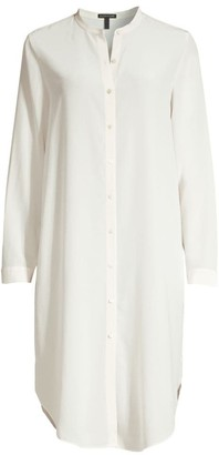 Eileen Fisher Long Silk Crepe De Chine Shirt