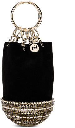 Rosantica Ghizlan Bag in Black Velvet & Crystals | FWRD