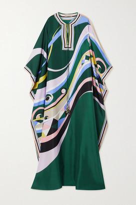 Emilio Pucci Tasseled Printed Silk-satin Kaftan - Emerald