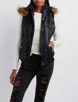 Charlotte Russe Faux-Fur Trim Hooded Puffer Vest