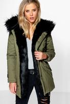 Boohoo Boutique Maria Faux Fur Trim Parka