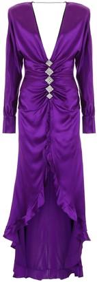 Alessandra Rich V Neck Ruffled Dress