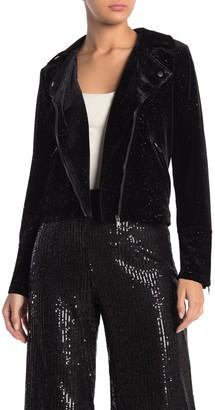 CODEXMODE Velvet Glitter Moto Jacket