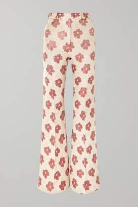 Golden Goose Carrie Floral-jacquard Wide-leg Pants - White