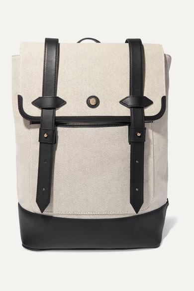 Paravel Upland Leather-trimmed Canvas Backpack - Black
