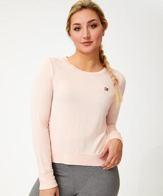 Tommy Hilfiger Women's Tee Shirts BSH_BLUSH - Blush Embroidered-Logo Crewneck Cropped Top - Women