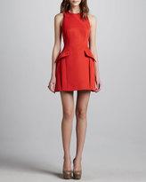 McQ by Alexander McQueen Peplum-Pocketed Dress, Red