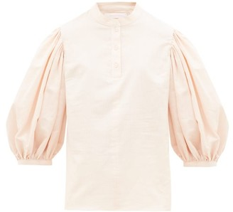 See by Chloe Balloon-sleeve Stripe-jacquard Cotton Blouse - Womens - Light Pink