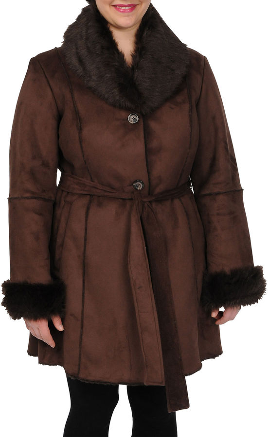 JCPenney Excelled Leather Excelled Faux-Shearling Belted Coat