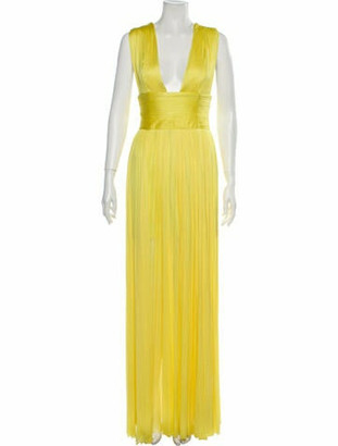 Maria Lucia Hohan V-Neck Long Dress Yellow