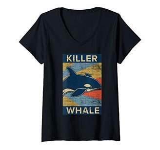 Womens Killer Whale V-Neck T-Shirt
