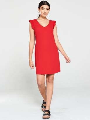 Very V Neck Frill Jersey Mini Dress