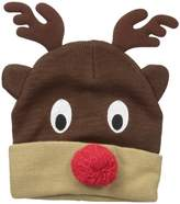 D&Y Women's Knit Reindeer Beanie with Pom Red Nose