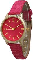 OLIVIA PRATT Olivia Pratt Womens Gold-Tone Hot Pink Denim Faux Leather Strap Watch 14086