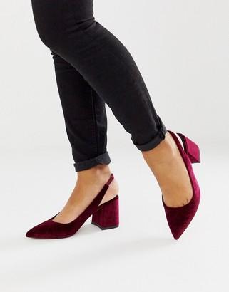 Asos Design DESIGN Samson slingback mid heels in burgundy velvet-Red