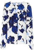 Oscar de la Renta Silk Printed Long Sleeved Blouse