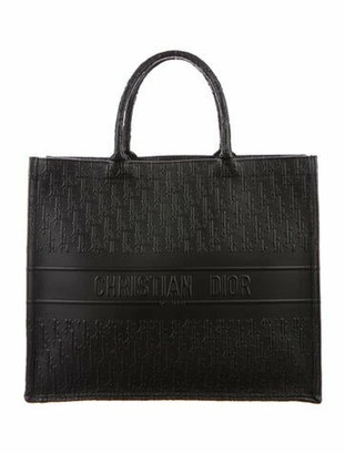 Christian Dior 2018 Oblique Embossed Leather Book Tote Black