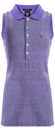 Ralph Lauren Purple Honeycomb Knit Sleeveless Polo T-Shirt 16 Yrs
