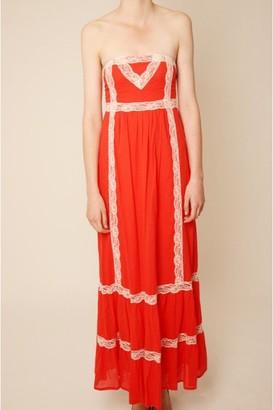 Little Mistress Tomato Lace Trim Detail Strapless Maxi Dress