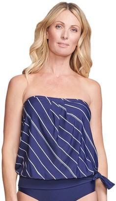 Women's Mazu Swim Striped Blouson Tankini Swim Top with Waist Minimizer