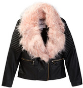 DKNY Faux Leather Jacket with Faux Fur Collar (Big Girls)