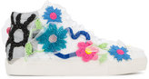 Natasha Zinko floral bead embellished sneakers - women - Leather/Polyester/Sequin/rubber - 36