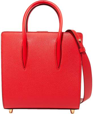 Christian Louboutin Paloma Small Studded Textured And Patent-leather Tote