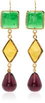 Loulou de la Falaise 3 Color Diamond and Drop Earrings