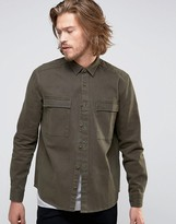 Asos Overshirt With Acid Wash In Green