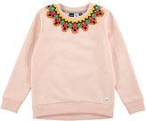 Molo Maya Crochet Crewneck Pullover Sweatshirt, Pink, Size 4-14