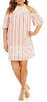 Blu Pepper Plus Lace Inset Striped Woven Dress
