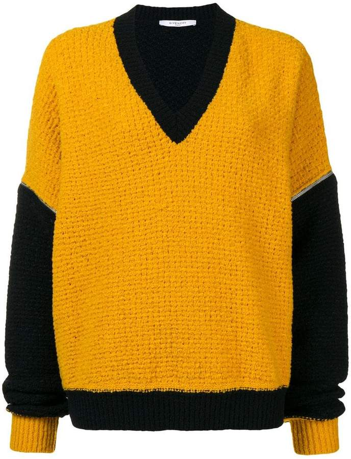 Givenchy zipped sleeves v-neck jumper