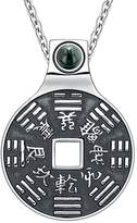 BestAmulets Yin Yang Lucky Coin Amulet BaGua Kanji Forces of Nature Powers Simulated Onyx 18 Inch Pendant Necklace