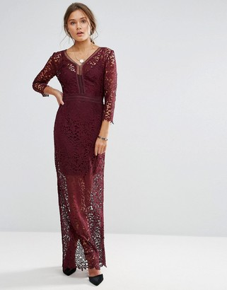 Little Mistress Long Sleeve Lace Maxi Dress-Red