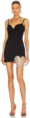 Area Crystal Heart Fringe Mini Dress in Black | FWRD