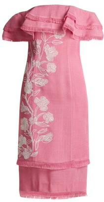 Mary Katrantzou Angelica Embroidered Off The Shoulder Ruffle Dress - Womens - Pink
